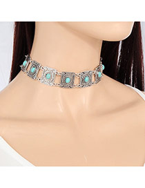 Vintage Silver Color Square Shape Decorated Simple Hollow Out Choker