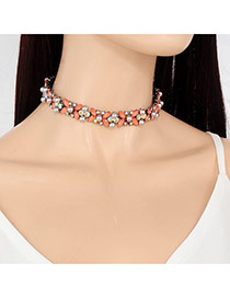 Fashion Pink Oval Shape Diamond Decorated Short Chian Necklace