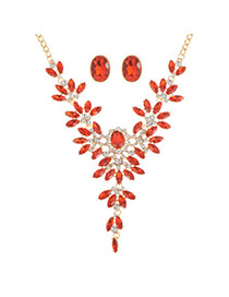 Fashion Red Oval Shape Diamond Decorated Hollow Out Simple Jewelry Sets