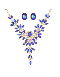 Fashion Sapphire Blue Oval Shape Diamond Decorated Hollow Out Simple Jewelry Sets