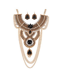 Exaggerated Gold Color Round Shape Diamond&chain Decorated Irregular Shape Jewelry Sets