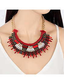 Fashion Red Oval Diamond Decorated Hand-woven Simple Necklace