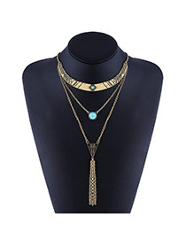 Elegant Golden Color Long Tassel&round Shape Diamond Decorated Multilayer Simple Necklace