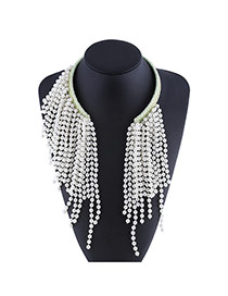 Trendy Green+white Bead Decorated Long Tassel Design Openning Necklace