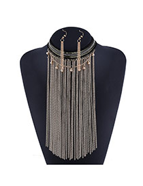 Trendy Golden Color Long Tassel&round Ball Decorated Simple Design Jewelry Sets