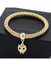 Fashion Golden Color Diamond& Owl Shape Pendant Decorated Pure Color Bracelet