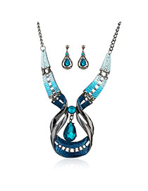 Fashion Blue Watershape Shape Pendant Decorated Hollow Out Jewelry Sets(2pcs)