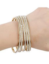 Fashion Golden Color Diamond Decorated Multi-layer Simple Bracelet