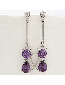 Fashion Purple Diamond Decorated Cat Shape Simple Earrings