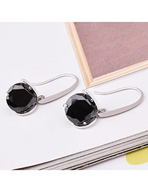 Fashion Black Round Shape Diamond Decorated Simple Design Earrings