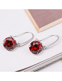 Fashion Red Round Shape Diamond Decorated Simple Design Earrings