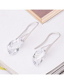 Elegant White Water Drop Shape Diamond Decorated Simple Earrings