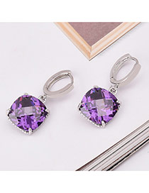 Sweet Purple Square Shape Diamond Decorated Simple Design Earrings