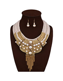 Fashion Golden-color Long Tassel Decorated Multi-layer Hand-woven Jewelry Sets
