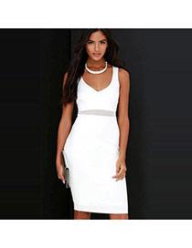 Sexy White Pure Color Design V Neckline Sleeveless Package Hip Long Dress
