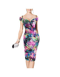 Sexy Multi-color Flower Pattern Decorated Off-the-shoulder Package Hip Strap Dress