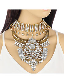 Fashion Gold Color Water Drop Diamond Decorated Multi-layer Irregular Shape Necklace