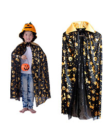 Exaggerated Gold Color Pumpkin&evil Pattern Decorated Simple Halloween Cloak