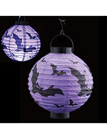 Exaggerated Purple Bat Pattern Decorated Plicated Halloween Portable Lantern
