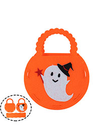 Exaggerated Orange Cartton Evil Pattern Decorated Simple Halloween Candy Bag