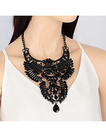 Exaggerated Black Water Drop Shape Diamond Decorated Multi-layer Necklace