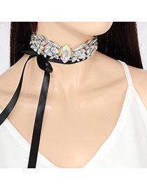 Trendy Multi-color Water Shape Diamond Decoarated Double Layer Choker