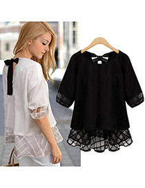 Casual Black Hollow Out Design Round Neckline Elbow Sleeve Larger Size Chiffon Blouse