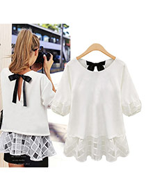 Casual White Hollow Out Design Round Neckline Elbow Sleeve Larger Size Chiffon Blouse
