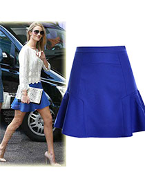 Fashion Sapphire Blue Pure Color Design High-waisted Patchwork Mini Chiffon Fishtail Skirt