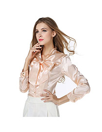 Fashion Apricot Bowknot Decorated Pure Color V Neckline Long Sleeve Chiffon Blouse