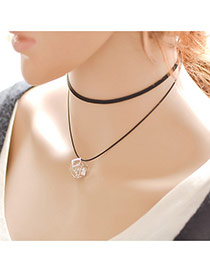 Vintage Black Hollow Out Metal Pendant Decorated Double Layer Choker