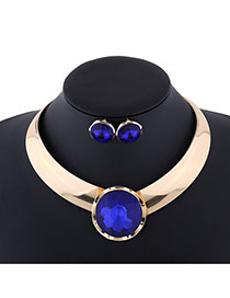 Exaggerate Blue Round Shape Diamond Decorated Simple Jewelry Sets