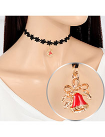Fashion Multi-color Small Bell Pendant Decorated Hollow Out Folower Simple Choker