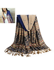 Bohemia Sapphire Blue Printing Flower Pattern Decorated Tassel Scarf