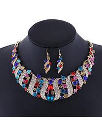 Delicate Multi-color Round Shape Diamond Decorated Simple Jewelry Sets