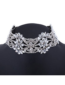 Vintage Silver Color Flower Shape Decorated Hollow Out Simple Choker