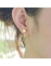 Personality Gold Color Mountain Shape Pendant Decorated Hollow Out Design Earrings