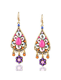 Bohemia Gold Color Flower Pendant Decorated Oval Shape Earrings