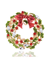 Lovely Multi-color Metal Christmas Wreath Decorated Simple Brooch
