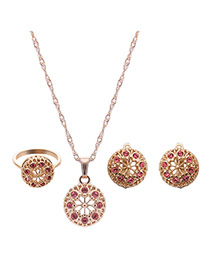 Delicate Gold Color +pink Round Shape Pendant Decorated Long Chain Jewelry Sets