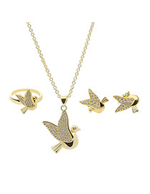 Delicate Gold Color Bird Shape Pendant Decorated Long Chain Jewelry Sets