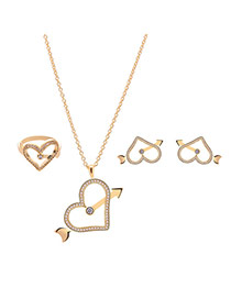 Sweet Gold Color Heart Shape Pendant Decorated Simple Long Chain Jewelry Sets