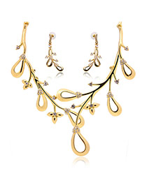 Personality Gold Color Holow Out Design Pendant Decorated Simple Jewelry Sets