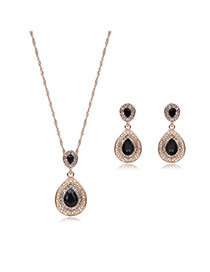 Elegant Black Waterdrop Shape Pendant Decorated Long Chain Jewelry Sets