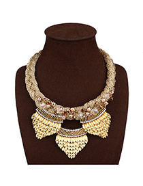 Exaggerate Gold Color Scale Shape Decorated Pure Color Design Necklace