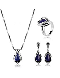 Elegant Blue Oval Shape Gemstone Pendant Decorated Simple Jewelry Sets