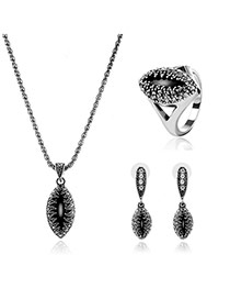 Delicate Silver Color Waterdrop Shape Pendant Decorated Long Chain Jewelry Sets