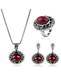 Retro Silver Color Round Shape Pendant Decorated Long Chain Jewelry Sets