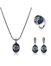 Retro Silver Color Flower Decorated Round Shape Pendant Long Chian Jewelry Sets