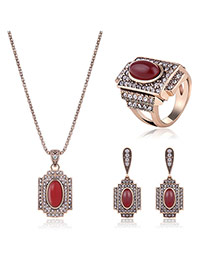 Vintage Gold Color Oval Shape Gemstone Decorated Square Design Pendant Jewelry Sets